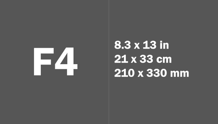 ukuran kertas f4 dalam inci