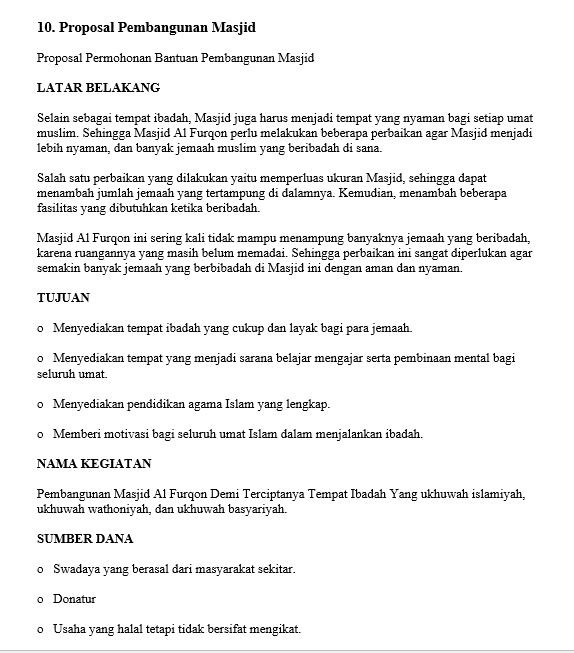 contoh proposal bazar